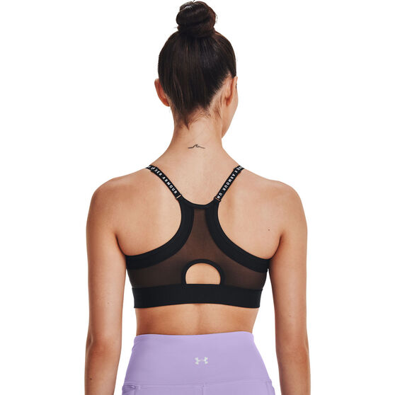 Under Armour Womens Infinity Low Covered Sports Bra, Black, rebel_hi-res
