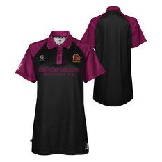 Brisbane Broncos 2021 Womens Polo, Black, rebel_hi-res