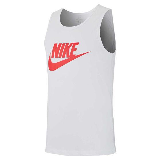Nike Mens Icon Futura Tank, White, rebel_hi-res