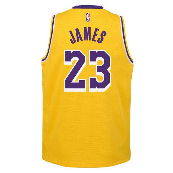 Nike Los Angeles Lakers LeBron James Icon 2020/21 Kids Swingman Jersey Yellow L, Yellow, rebel_hi-res
