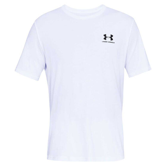 Under Armour Mens Sportstyle Tee, White / Black, rebel_hi-res