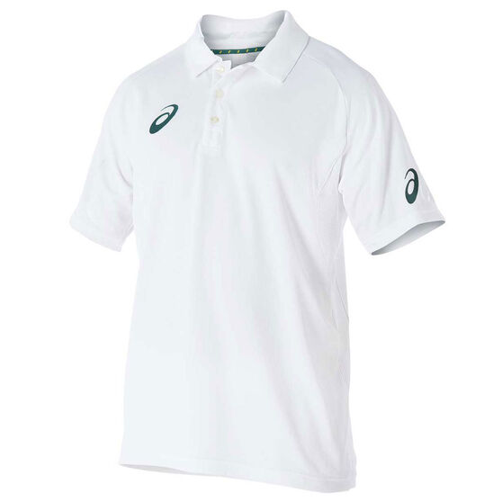 Asics Mens Cricket Playing Polo Top, White, rebel_hi-res