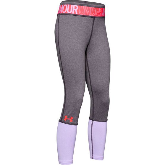 Under Armour Girls Heatgear Armour Novelty Tights, Purple / Red, rebel_hi-res