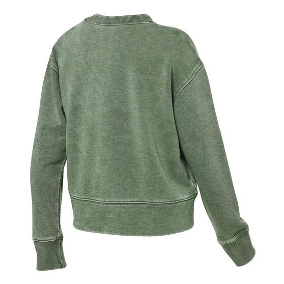 Ell & Voo Womens Noah Cropped Crew Sweatshirt, Green, rebel_hi-res