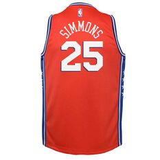 Jordan Philadelphia 76ers Ben Simmons 2020/21 Kids Statement Swingman Jersey Red S, Red, rebel_hi-res