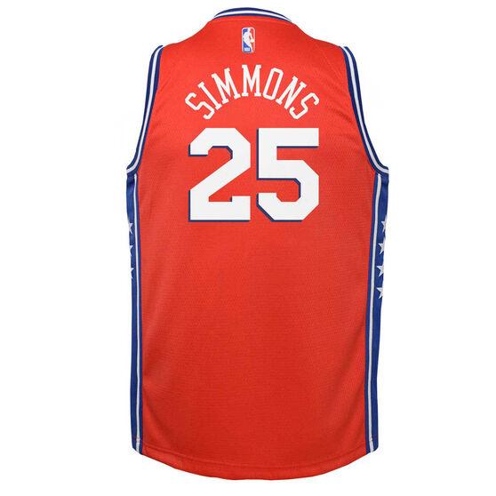 Jordan Philadelphia 76ers Ben Simmons 2020/21 Kids Statement Swingman Jersey, Red, rebel_hi-res