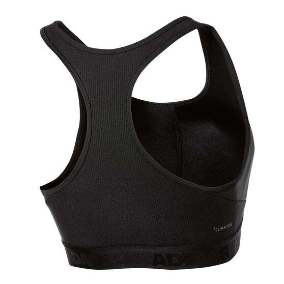 adidas Womens Alphaskin Sports Bra Black XS, Black, rebel_hi-res