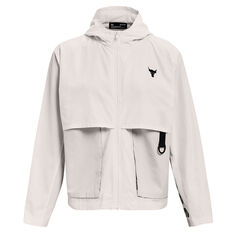 Under Armour Womens Project Rock Woven Jacket White XS, White, rebel_hi-res