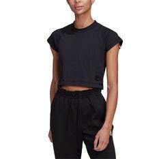 adidas Womens Recycled Cotton Crop Tee Black XS, Black, rebel_hi-res