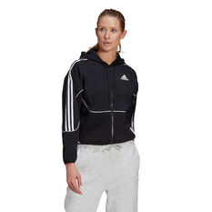 adidas Womens Sportswear Colourblock Full-Zip Hoodie Black XS, Black, rebel_hi-res