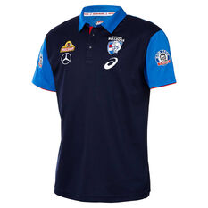 Western Bulldogs 2019 Mens Media Polo Shirt Blue S, Blue, rebel_hi-res