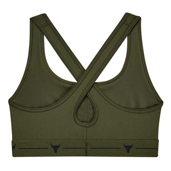 Under Armour Womens Project Rock Crossback Sports Bra Green XS, Green, rebel_hi-res