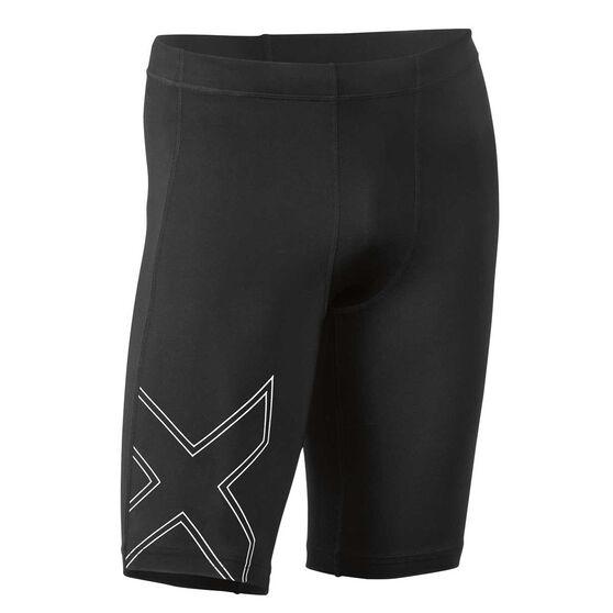 2XU Mens Aspire Compression Shorts, Black / Silver, rebel_hi-res