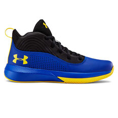 Under Armour Lockdown 4 Kids Basketball Shoes Blue / Yellow US 4, Blue / Yellow, rebel_hi-res