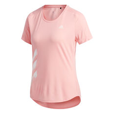 adidas Womens 3-Stripes Run Tee Pink XS, Pink, rebel_hi-res