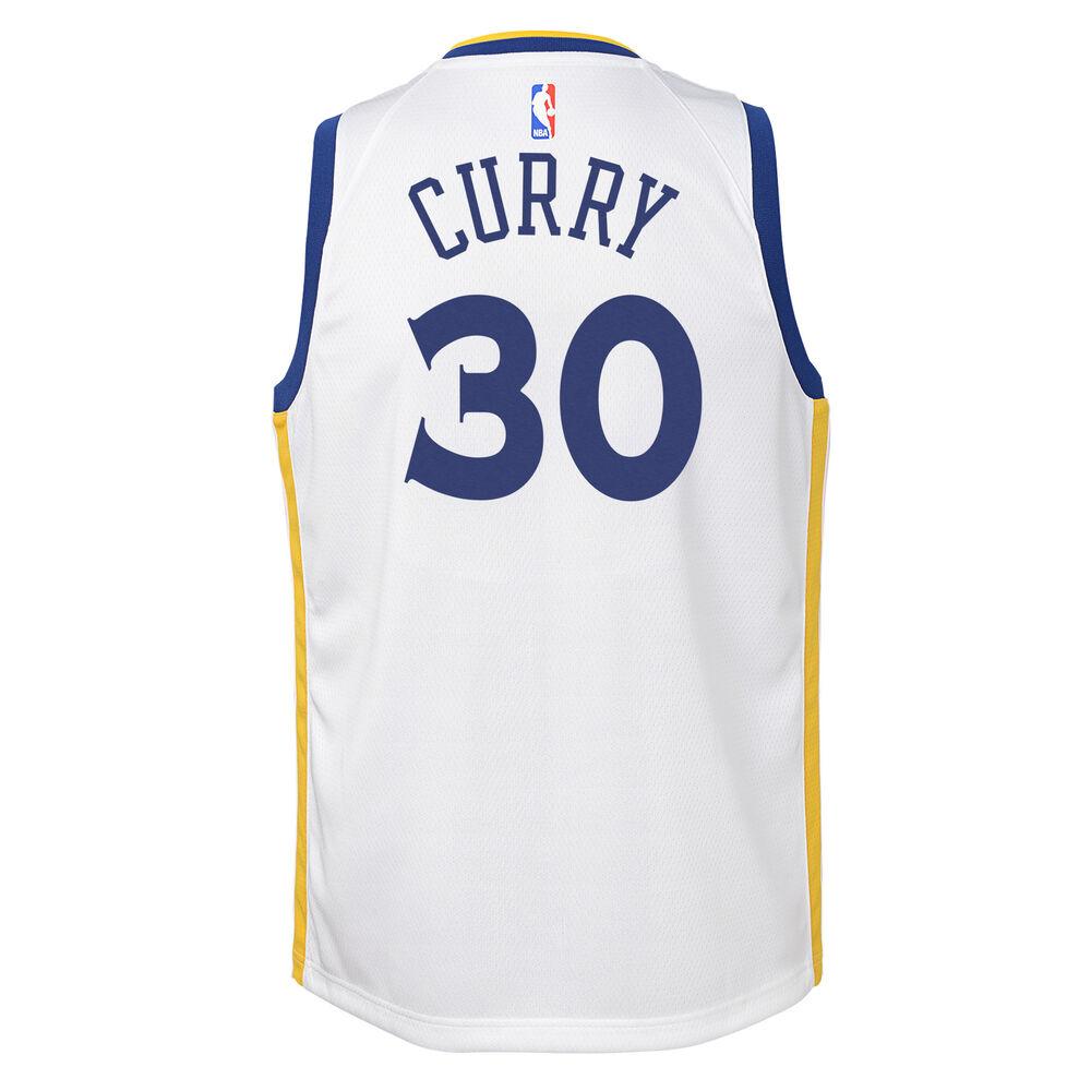 1d444400059 Nike Golden State Warriors Steph Curry Association 2019 Kids Swingman Jersey  Blue / Gold XL,