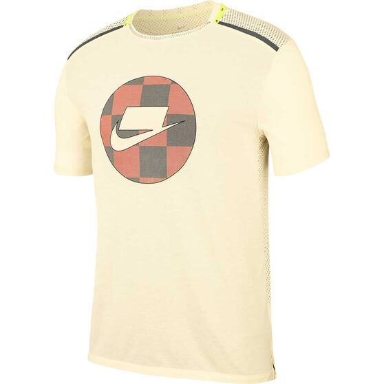 Nike Mens Short-Sleeve Mesh Running Top, Ivory, rebel_hi-res