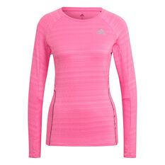adidas Womens Runner Long Sleeve Tee Pink XS, Pink, rebel_hi-res