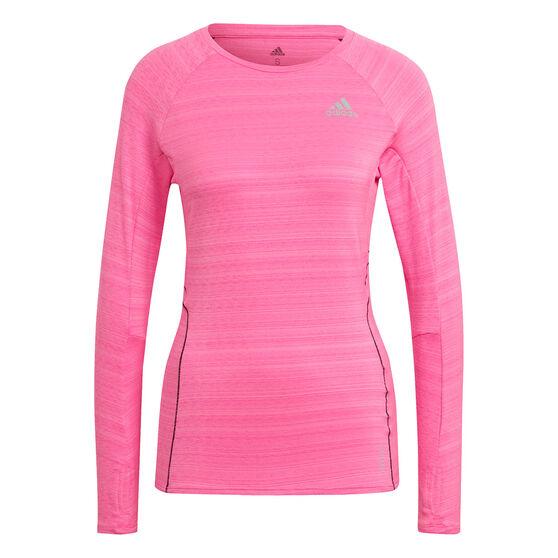 adidas Womens Runner Long Sleeve Tee, Pink, rebel_hi-res