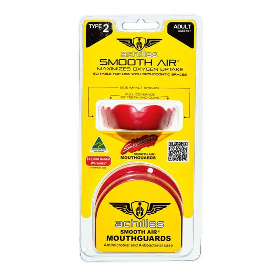 Achilles Type 2 Standard Mouthguard, Red, rebel_hi-res