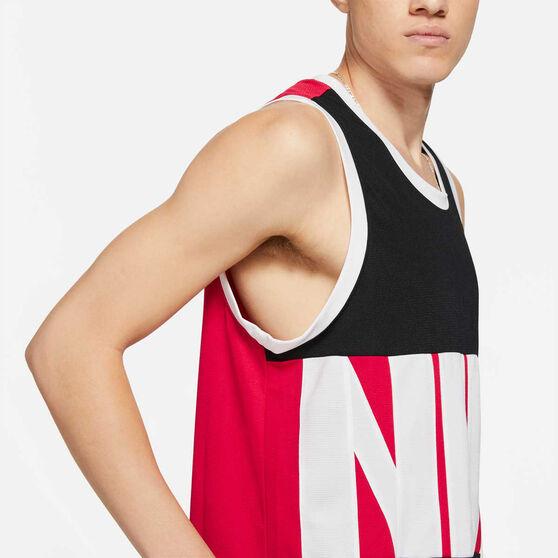Nike Mens Starting Five Heresy Basketball Jersey, Black/Red, rebel_hi-res