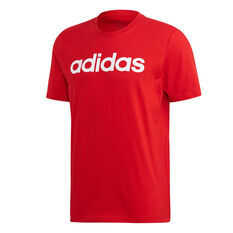 adidas Mens Essentials Linear Tee Red S, Red, rebel_hi-res