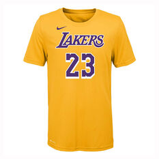 Nike Los Angeles Lakers LeBron James 2019/20 Kids Icon Tee Yellow S, Yellow, rebel_hi-res