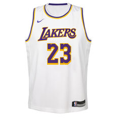 Nike Los Angeles Lakers LeBron James Association 2019 Kids Swingman Jersey White / Blue S, White / Blue, rebel_hi-res