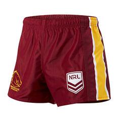 Brisbane Broncos Mens Home Supporter Shorts Maroon S, Maroon, rebel_hi-res