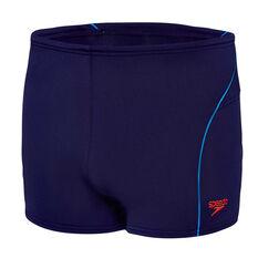 Speedo Mens Endurance Logo Swim Shorts Navy / Red 14, Navy / Red, rebel_hi-res