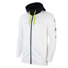 Nike Mens Dri-FIT Fleece Full Zip Training Hoodie White XS, White, rebel_hi-res
