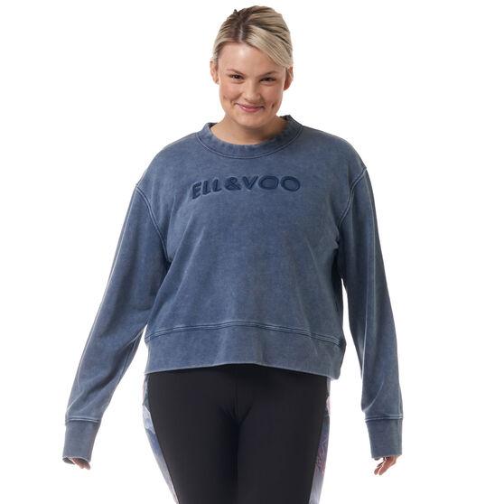 Ell & Voo Womens Noah Cropped Crew Sweatshirt, Navy, rebel_hi-res