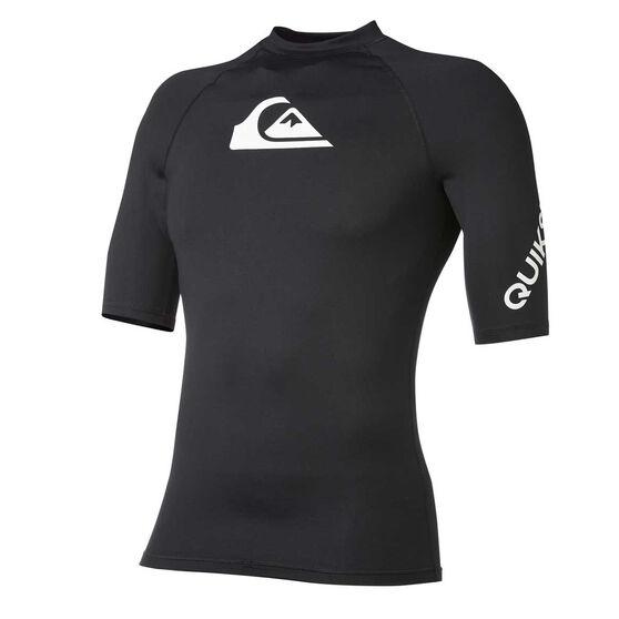 Quiksilver Boys All Time Rash Vest, Black, rebel_hi-res