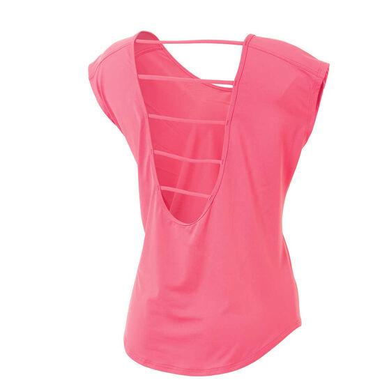 Running Bare Womens Plie Pulse Workout Tee, Pink, rebel_hi-res