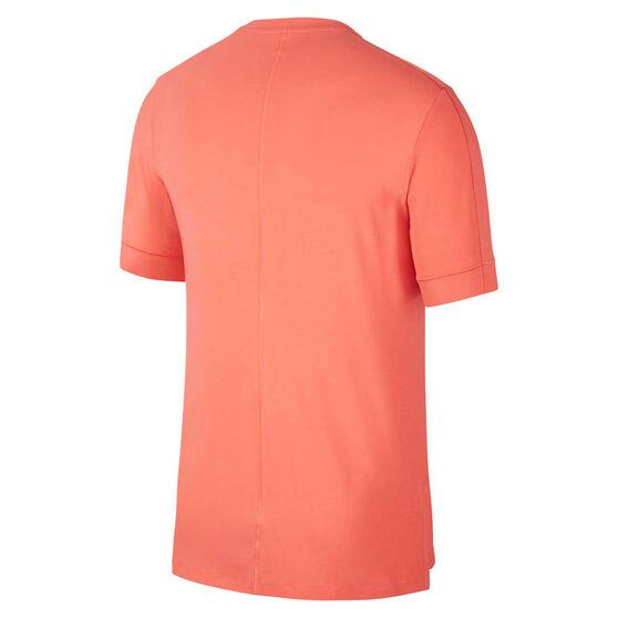 Nike Mens Dri-FIT Yoga Tee, Coral, rebel_hi-res