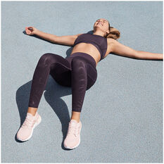 adidas Womens Believe This Glam On Tights Purple XS, Purple, rebel_hi-res
