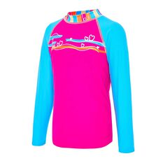 Zoggs Toddler Girls Love Stripe Long Sleeve Rash Vest, Pink, rebel_hi-res