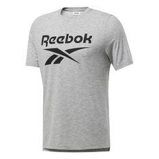 Reebok Mens Workout Ready Supremium Graphic Tee Grey S, Grey, rebel_hi-res