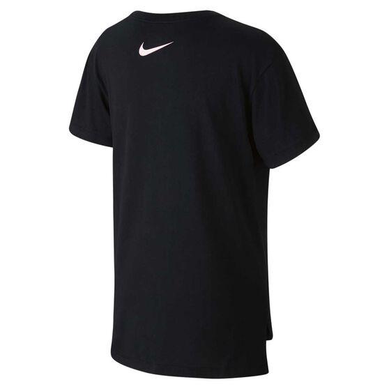 Nike Girls Sportswear Hilo Futura Tee, Black / Pink, rebel_hi-res
