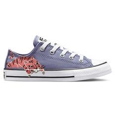 Converse Chuck Taylor All Star Jungle Cats Kids Casual Shoes Lilac US 11, Lilac, rebel_hi-res