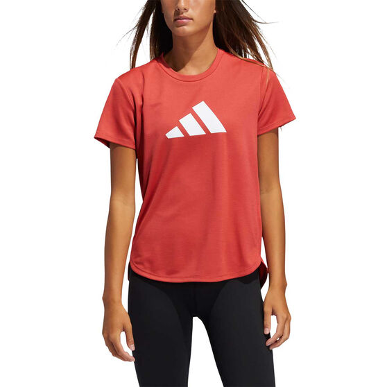 adidas Womens Badge Of Sport Training Tee, Red, rebel_hi-res