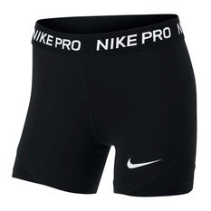 Nike Girls Pro Boy Leg Shorts Black / White XS, Black / White, rebel_hi-res
