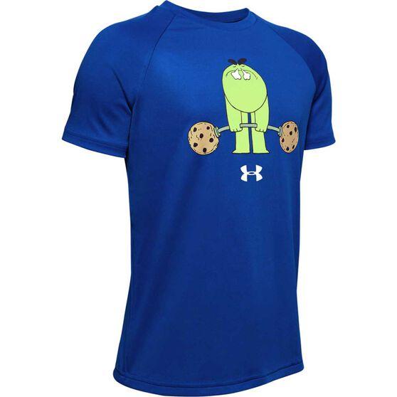 Under Armour Boys Tech Cookie Emoji Tee, Royal Blue, rebel_hi-res