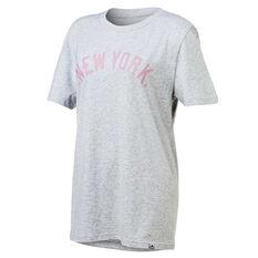 New York Yankees Womens Boyfriend Tee Grey XS, Grey, rebel_hi-res