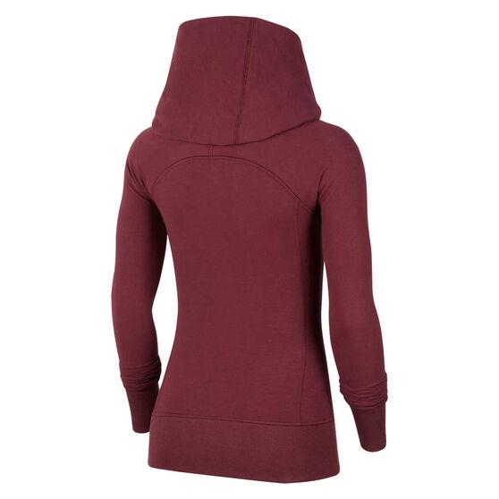 Nike Womens Yoga Full Zip Hoodie Maroon S, Maroon, rebel_hi-res