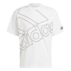 adidas Giant Logo Mens Tee White S, White, rebel_hi-res