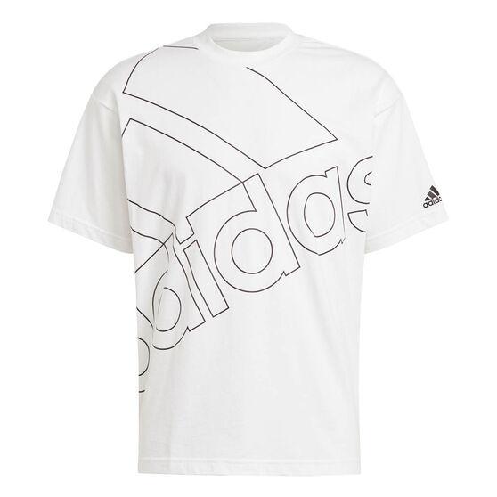 adidas Giant Logo Mens Tee, White, rebel_hi-res