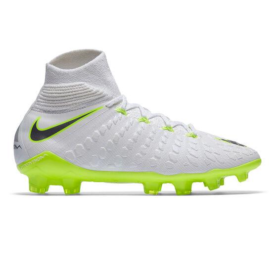 Nike Hypervenom Phantom III Elite Dynamic Fit Junior Football Boots, White / Grey, rebel_hi-res