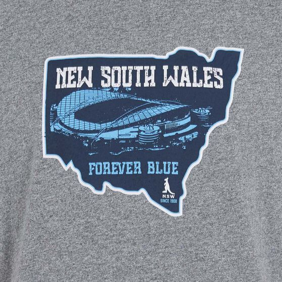 NSW Blues State of Origin Mens Forever Blue State Tee, Grey / Blue, rebel_hi-res