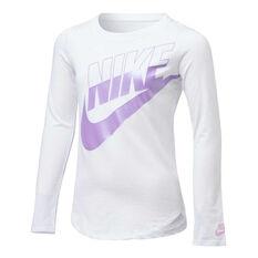 Nike Girls Futura Split Long Sleeve Tee White/Purple 4, White/Purple, rebel_hi-res